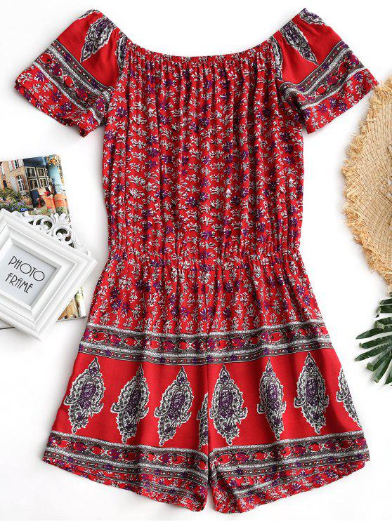 Off The Shoulder Tribal Print Romper - Vermelho XL