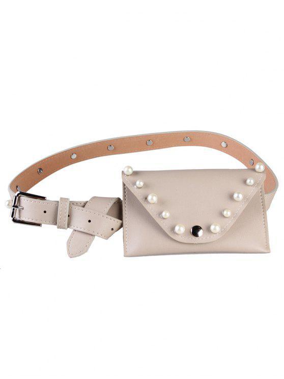 Pearl Funny Bag Embellished Faux Leather Skinny Belt - Caqui