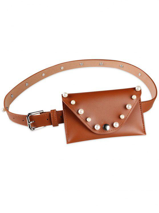 trendy Pearl Funny Bag Embellished Faux Leather Skinny Belt - CHOCOLATE