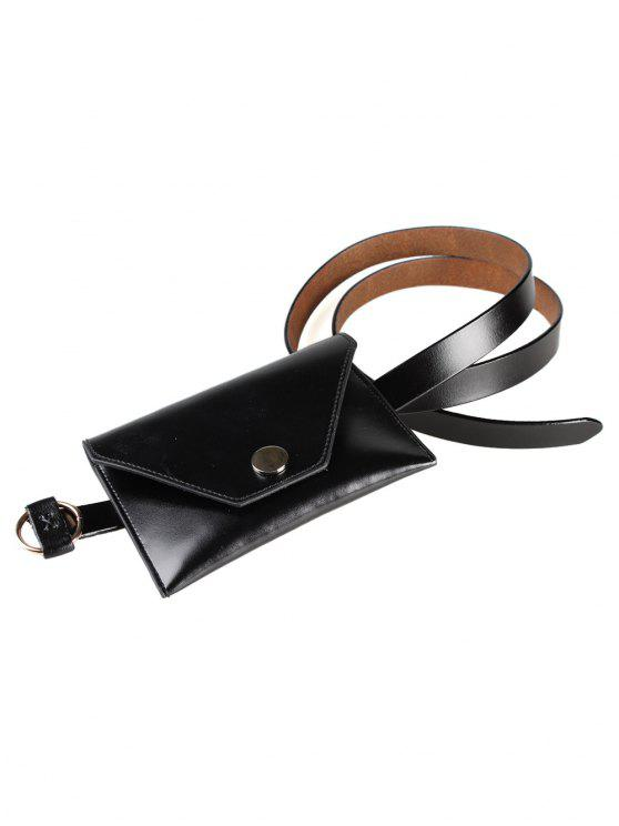 womens Removable Funny Bag Faux Leather Skinny Belt - BLACK