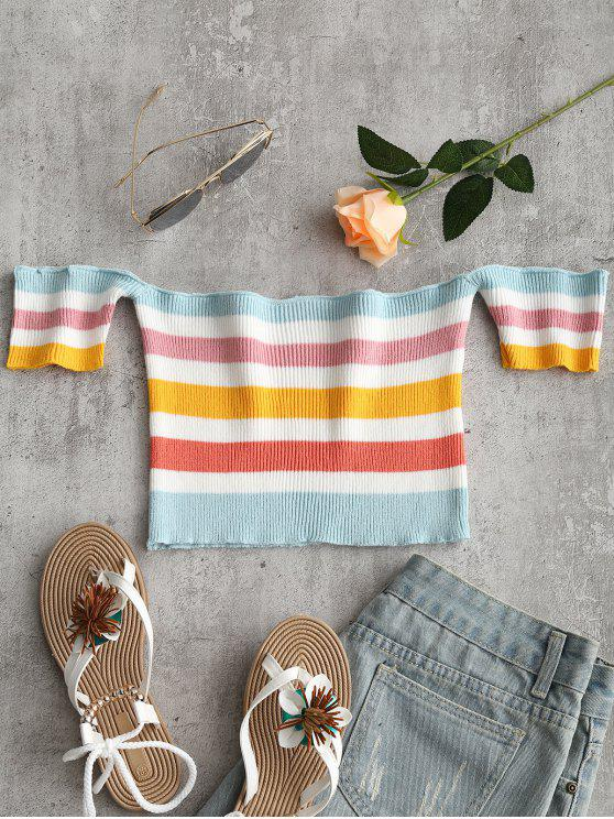 affordable Off Shoulder Striped Crop Knitted Top - MULTI ONE SIZE