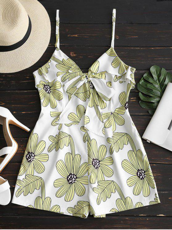 latest Floral Print Ruffles Cami Romper - LIGHT YELLOW S