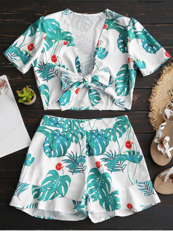 best Tied Plunge Leaves Top and Shorts Set - GREEN L