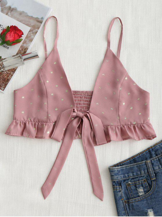 chic Tied Bowknot Dotted Ruffles Cami Top - DEEP PINK S