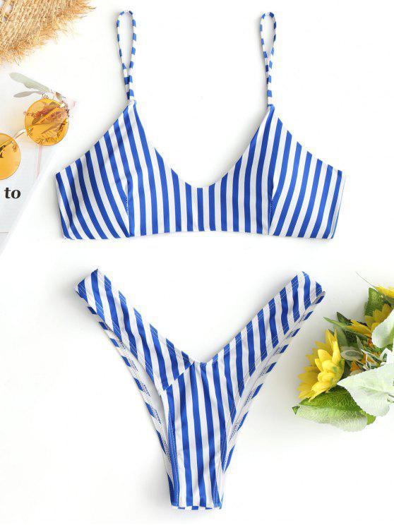 High Cut Cami Gestreifter Bikini-Set - Blau & Weiß L