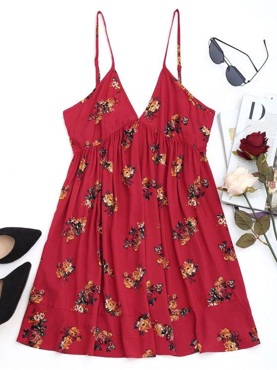 latest Floral Shift Mini Dress - DEEP RED L