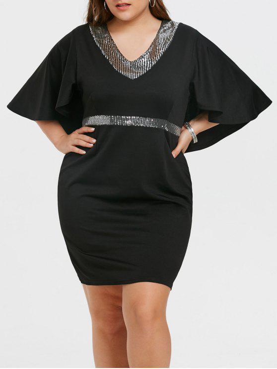 Vestido negro de manga larga con lentejuelas