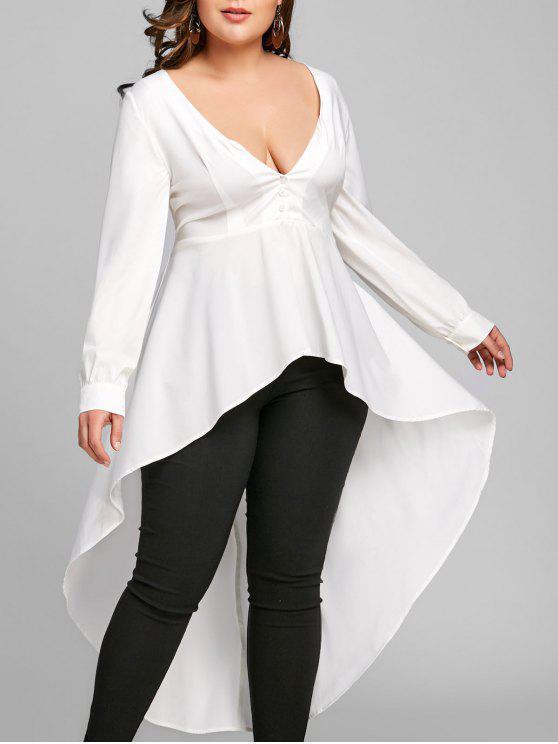 زائد حجم عالية منخفضة قميص طويل الأكمام - أبيض 2XL