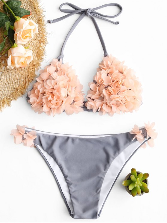women's Stereo Petal Halter Bikini Set - BLUE GRAY S