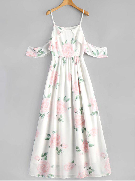 fancy Floral Print Ruffles Cami Maxi Dress - WHITE S