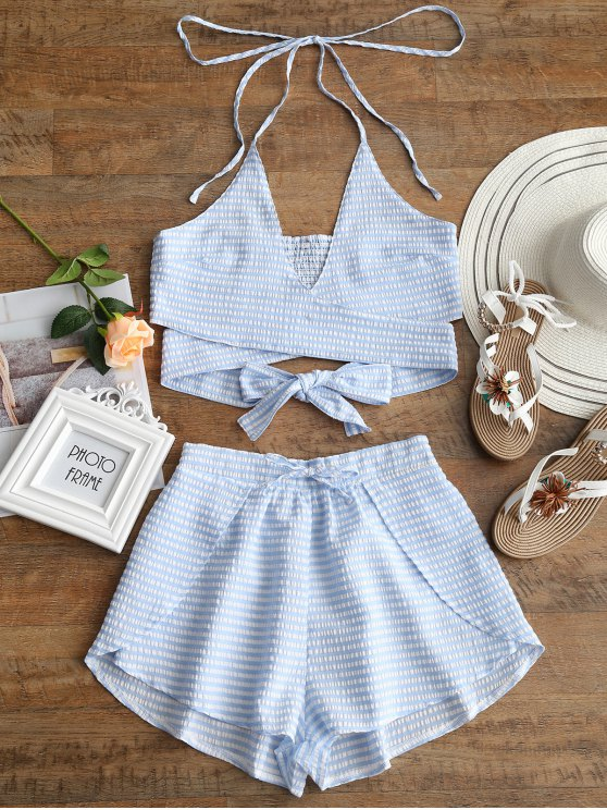 online Striped Wrap Top and Drawstring Shorts Set - BLUE AND WHITE L