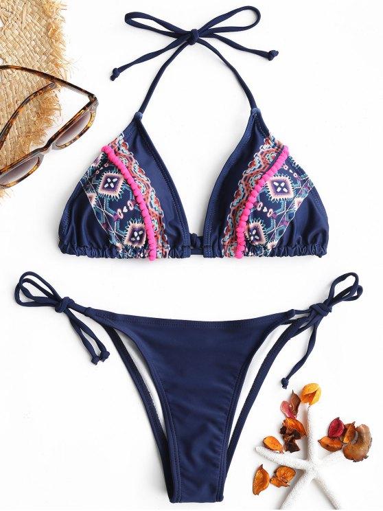 fashion Printed Pompom String Bikini Set - DEEP BLUE M