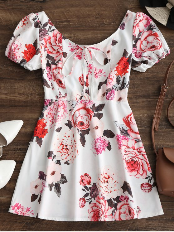 best Half Buttoned Floral Flare Mini Dress - WHITE S