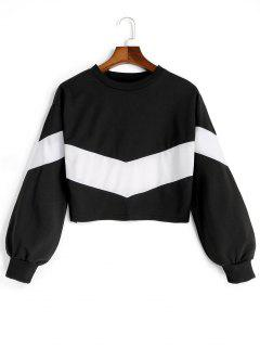 Drop Shoulder Contrast Cropped Sweatshirt - White And Black S