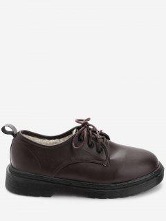 PU Leather Round Toe Loafers With Faux Fur - Brown 39