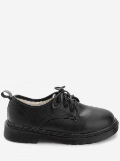 PU Leather Round Toe Loafers With Faux Fur - Black 37