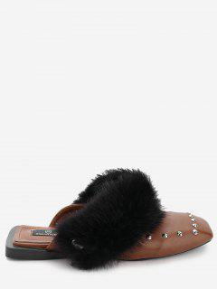 Square Toe Mules With Detachable Faux Fur - Brown 39