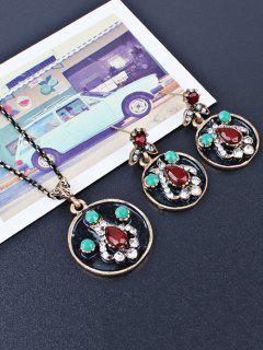 Faux Gem Round Teardrop Jewelry Set - Red
