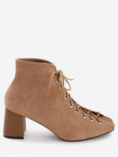 Squared Toe Faux Suede Ankle Boots - Brown 38