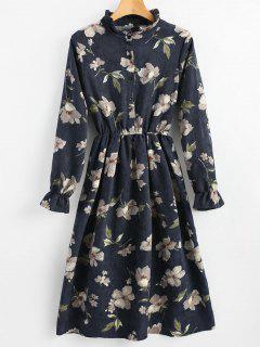 Ruffle Neck Floral A-Linie Cord Kleid - Cerulean L