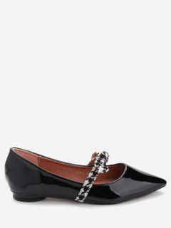 Bow Strap Faux Leather Flats - Black 39