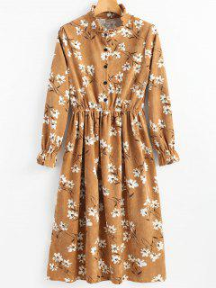 Ruffle Neck Floral Corduroy Dress - Ginger 2xl