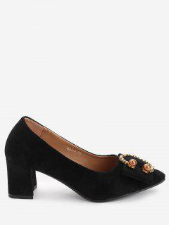 Metal Buckled Faux Pearl Chunky Heel Pumps - Black 39