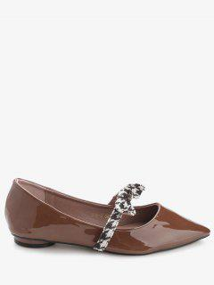 Bow Strap Faux Leather Flats - Brown 39