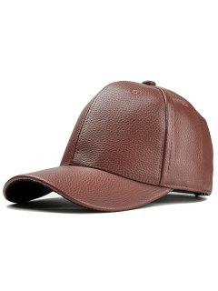 Casquette De Baseball Réglable En Simili Cuir Style Simple  - Moka