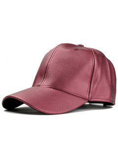 Unique Faux Leather Adjustable Baseball Cap - Wine Red