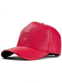 Unique Faux Leather Adjustable Baseball Cap - Red