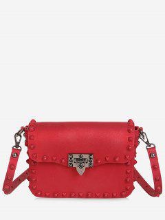 Metal Studs Flap Crossbody Bag - Red