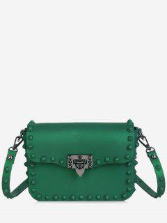 Metal Studs Flap Crossbody Bag - Green