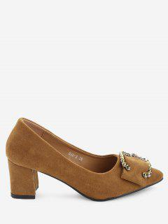 Buckled Rhinestone Mid Heel Pumps - Brown 39