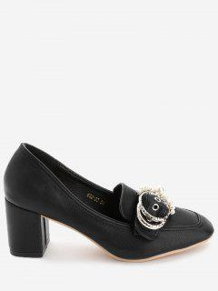 Round Buckled Faux Pearl Chunky Heel Pumps - Black 35
