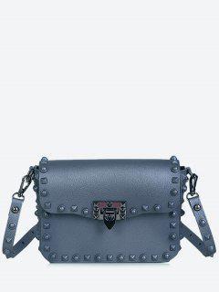 Metal Studs Flap Crossbody Bag - Grey Blue