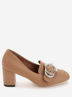 Round Buckled Faux Pearl Chunky Heel Pumps - Brown 39