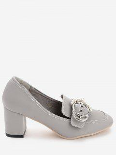 Round Buckled Faux Pearl Chunky Heel Pumps - Gray 39