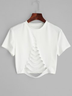 Short Sleeve Ripped T-shirt - White S