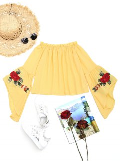 Ruffles Flare Sleeve Floral Embroidered Blouse - Yellow L