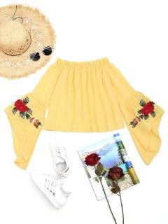 Rüschen Flare Sleeve Floral Bestickte Bluse - Gelb Xl