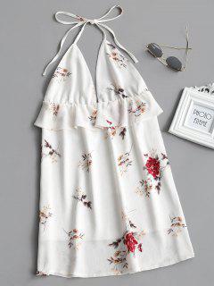 Floral Print Flounce Backless Halter Dress - White S