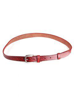 Raya Irregular Retro Patrón De Imitación De Cuero Cinturón Flaco - Rojo