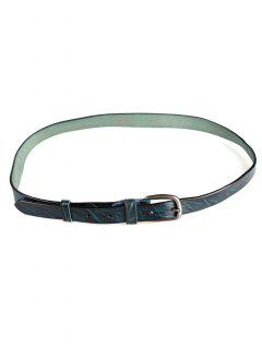 Irregular Stripe Pattern Faux Leather Skinny Belt - Blue