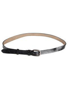 Irregular Stripe Pattern Faux Leather Skinny Belt - Black