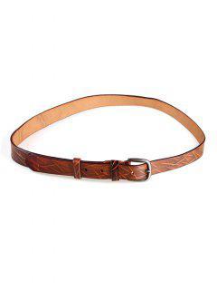 Irregular Stripe Pattern Faux Leather Skinny Belt - Brown