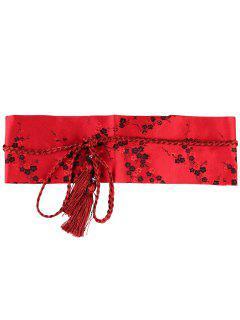 Cinturón De Corsé Con Adornos Bordado Floral - Rojo