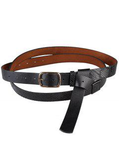 Metal Buckle Serpentine Pattern Skinny Belt - Black