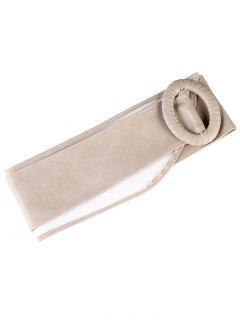 Unique Round Buckle PU Leather Wide Waist Belt - Khaki