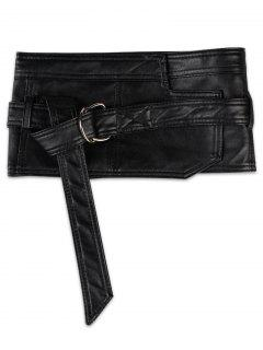 Metal Rings Buckle Embellished High Waist Belt - Black